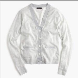 J.CREW Ivory & Grey Fine Striped Cardigan Sweater